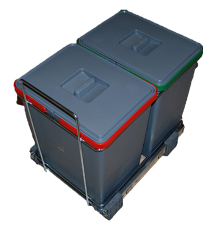 sorterings skraldespand 2 x 18 liter med udtræk